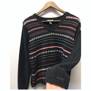 Izod | Gray Sweater Pink Stripes Warm & Comfy